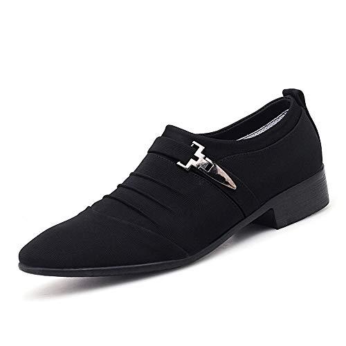 Jingkeke Herren Business Oxfords for Herren Seite Metall Dekor Slip-on Kleid Loafers Schuhe aus weicher Mikrofaser Canvas Gummi Spitz Ins Auge fallend Mode (Farbe : Schwarz, Größe : 39 EU) -