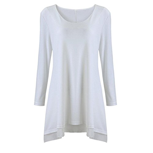 OverDose Frauen Langarm Bluse U-Ausschnitt Shirt Layered Scoop Neck Tunika Loose Fit Kleid Casual Blusenkleid(A-White ,EU-38/CN-M ) (Tunika Top Scoop)