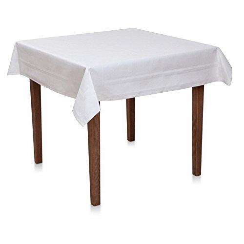 Tischdecken 100x100 cm Punkte Tupfen Muster Weiß Baumwolle Damast Vollzwirn Deckserviette Tafeldecke Tischwäsche Tischdeko