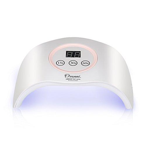Ovonni Nageltrockner Professionelle Nagelpflege 12W LED/UV Nagellampe Lichthärtungsgerät mit Zeitkontorlle 15s/30s/60s Rosa-Weiß