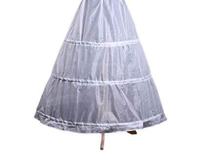 Haptian Womens A-Line Volle Länge 3 Reifen Petticoat-Hochzeits-Slips Krinoline-Unterrock(Weiß-Länge:80cm-90cm/31.49in-35.43in 1 ()