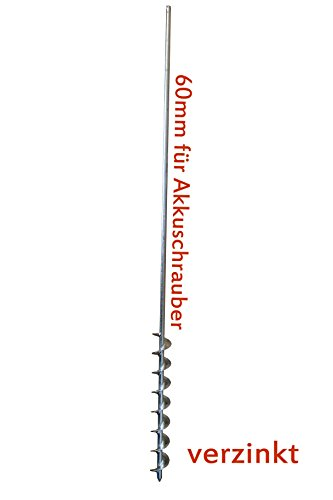 Erdbohrer 60mm für Akkuschrauber verzinkt