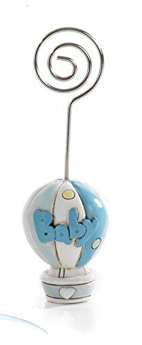 12 pezzi clip memo portafoto mongolfiera bomboniera battesimo nascita celeste in resina