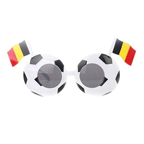 MagiDeal Fanartikel Sonnenbrille Fan Brille zur Fußball Weltmeisterschaft 10 Länder Flagge Stil - Belgien