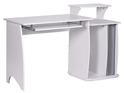 KADIMA DESIGN Computertisch Fabia Weiß mit Tastaturauszug CD Ablage Laptop Tisch mit großer Arbeitsfläche PC-Tisch mit Drucker-Ablage platzsparend Schreibtisch für kleine Räume HxBxT: 76-87x130x55cm - Cd-ablage Tisch