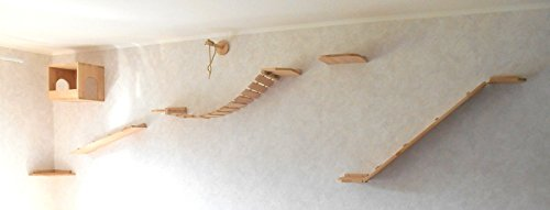 Katzen Wandpark, handgefertigte Tiermöbel / Luxusmöbel, Katzenmöbel in vielen Ausführungen, Kratzbaum / Katzenbaum für die Wand. Hier: Komplettpark Angebot, 7 Teilig (15511def)