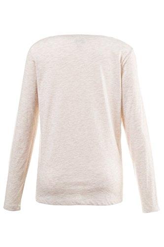 ... GINA LAURA Damen | Shirt | bestickter Frontdruck | Rundhals | Langarm |  Material-Mix