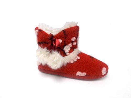 Femmes Chaud Dunlop Pantoufles Bottines Rouge