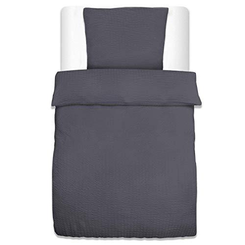 Beautissu Seersucker Bettwäsche Jette 2er Set Bettbezug 135×200 cm oder 155×220 cm und Kopfkissenbezug 80×80 cm oder 2er Set Kopfkissenbezug 40×80 cm Uni in 5 Oeko-Tex Zertifizierung