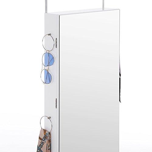Songmics Schmuckschrank extra breiter Spiegel (Rahmenlose Spiegeltür) Türmontage/Wandmontage mit Schminktisch Innenspiegel abschließbar weiß JBC63W - 5