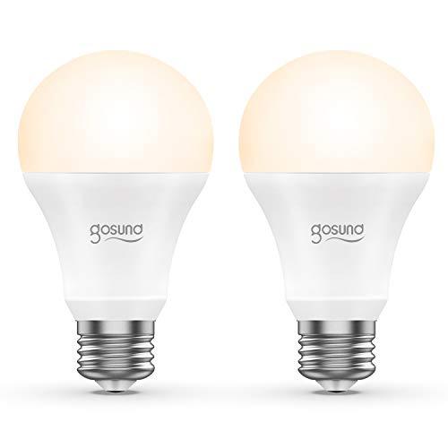 Smart LED-Lampe 2er Pack Gosund WLAN Dimmbare LED Glühbirne E27 2700 Kelvin 8W ersetzt 75 Watt, ohne Hub benötig, funktioniert mit Amazon Alexa und Google Assistant, 800 Lumen, warmweiß