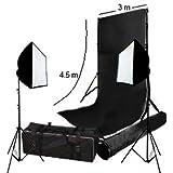 3 m x 4,5 m de toile de fond sans couture Noir avec support et 2 boîtes à lumière Softbox & sac