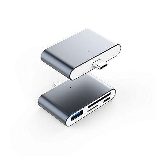 USB C OTG Kartenleser Adapter, VOASTEK USB C Hub 2-Slot SD/TF/Micro SD Port Kartenleser, USB C OTG auf USB 3.0 Adapter und Micro USB Port -