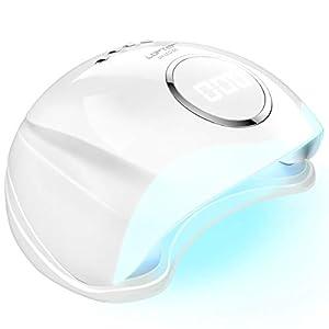 LOFTER Lampara LED Uñas 48W Profesional Secador de Uñas LED UV Lampara Uñas Gel Semipermanentes Lámpara UV Uñas Luz Nail Lamp con Sensor Automatico, 4 Temporizadores 10s/30s/60s/99s y Guantes Anti-UV
