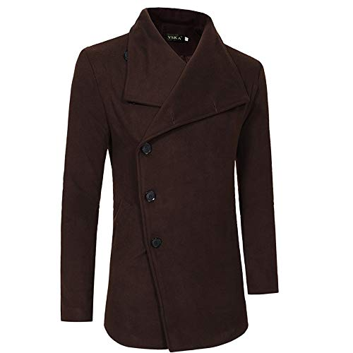 Setsail Herren Bequemes Top Herbst Winter warme Jacke Casual Herrentel Slim Long Trench Buttons Mäntel Canvas Trench Coat