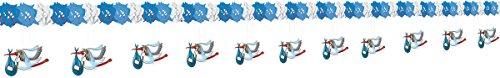 Girlande: Papiergirlande, Storch, hellblaue Taufgirlande, 4 m