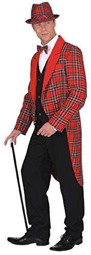 Mens Red Scottish Tartan Coat Jacket Burns Night Hogmanay New Year Christmas Fancy Dress Costume Outfit Tailcoat (Large (EU 52/54))