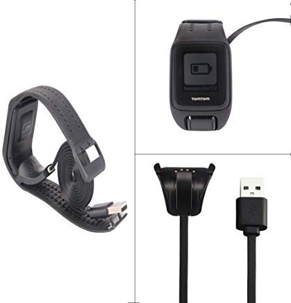 Tomtom Spark 3 Cardio + Music Ladegerät Tom Tom Runner 3 Running Watch Replace USB Charging Cable Clip Charger Cradle (Charger)