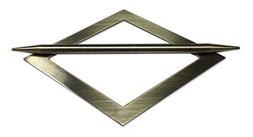 Tilldekor Raffspange RAUTE, Metall, messing-antik, Gardinenspange mit Befestigungsstab