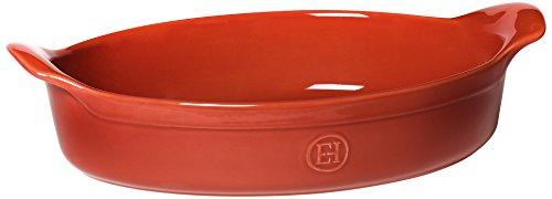 Emile Henry Eh329042 Plat à Four Ovale Céramique Orange Brique 34,5 X 23,5 X 6,5 cm