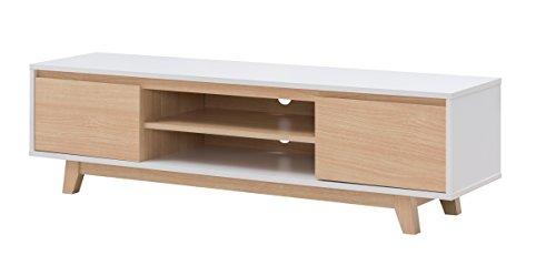 Alsapan 538363 Meuble TV Panneau de Particule, Blanc/Erable, 160 x 39, 5 x 45 cm
