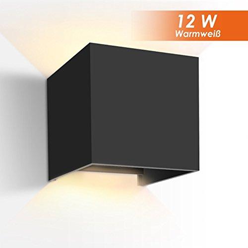GHB 12W LED Wandleuchte Wandlampe mit einstellbar Abstrahlwinkel Design Wasserdichte IP 65 LED Wandbeleuchtung 2700K Warmweiß (Schwarz) [Energieklasse A+] (Verpackung MEHRWEG) -