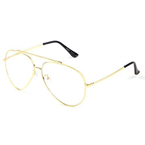 Cyxus pilotenbrille metallrahmen gläser blaue licht blockieren brille bildschirmbrille schützt die augen [transparente linse] besserer schlaf, Golden