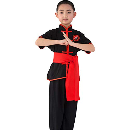 ZooBoo Kinder Kung Fu Uniform - Chinesische Kampfkunst Tai Chi Shaolin Wushu Wing Chun Training Kleidung Jacke Hose Anzug Schaukampf Kurze Ärmel Kostüm für Jungen Mädchen (Schwarz, Körpergröße ()