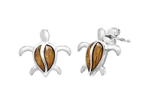 Sterling Silber Koa Holz petroglyphe Schildkröte Post Ohrringe von Honolulu Jewelry Company