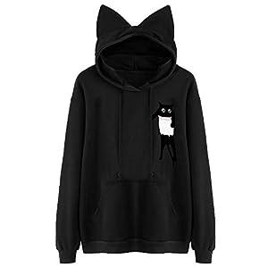 feiXIANG Damen Kapuzenpullover Sweatshirt Langarm Cat Print Kapuzenshirt mit Taschen S-XXL