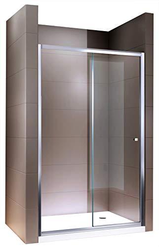 Duschabtrennung Schiebetür NANO Echtglas EX505 - Klarglas - Höhe 195cm - Breite wählbar, Breite:1200mm