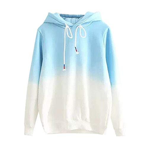 Xmiral Damen Hoodie Pullover Mädchen Herbst-Langarm-Kapuzen-Sweatshirt mit Farbverlauf Tops (S,Blau)