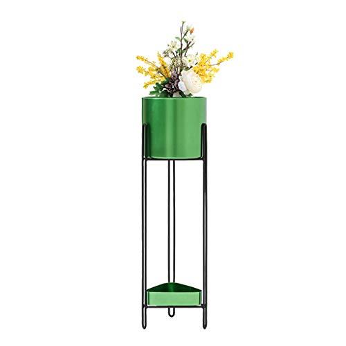 KJZ Cylindrical Floor Flower Stand - Vert Forme géométrique Balcon Deux tailles Salon Triangle Metal Flower Stand Étagère de pot de fleur (Couleur : Green, taille : 69 * 20cm)
