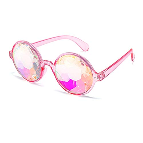 1 stücke Förderung Kaleidoskop Gläser Fabrik Kristalllinse Kaleidoskop Sonnenbrille Party Gläser, Rave 3D Gläser (Color : Pink Color) (Halloween-kostüme Promis Der Besten Die)