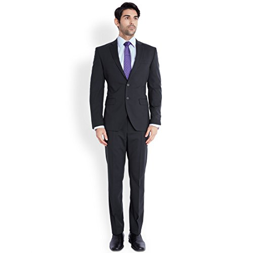 Park Avenue Dark Blue Solid Men's Suit