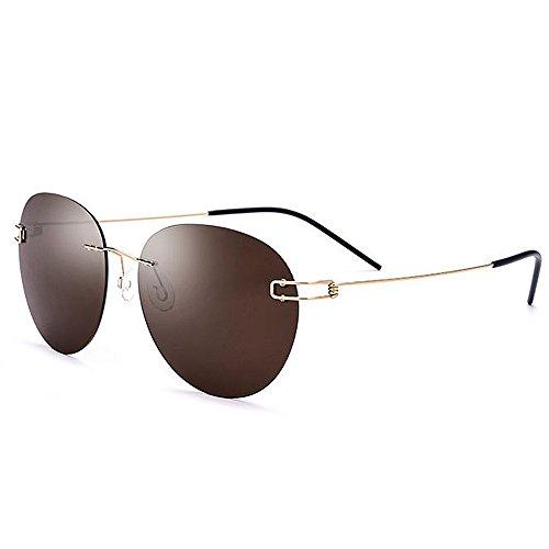 Ppy778 Randlose polarisierte Sonnenbrille der Männer UV400 für das Fahren des Fischen-Golfs im Freien (Color : Brown)