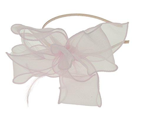 Mesdames mousseline de soie Bow net Filet plumes Alice bande Noir pour bébé Rose