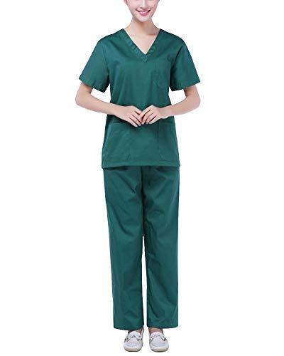 Kittel Grüne Kostüm Op Und - ShiFanA Unisex Schlupfkasack + Hose Medizinische Uniformen Berufskleidung Klinikkleidung Kleidung Pflege Grün L