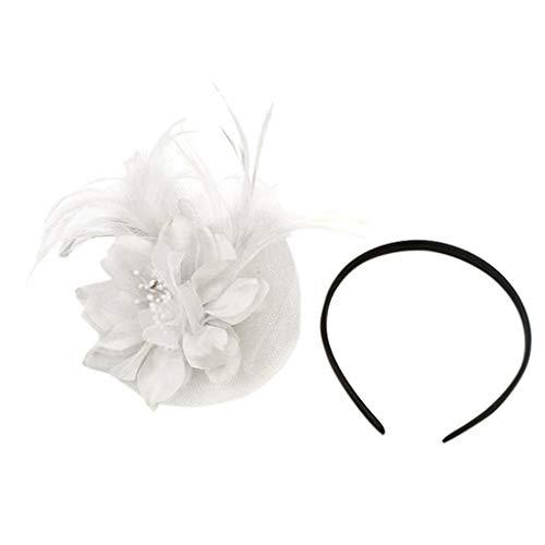 Beauty Up Damen Pin Kostüm - TTWOMEN Frauen Kopfschmuck 20er Jahre Haarband Federhaarband Kostüm Accessoire Damen (Weiß)