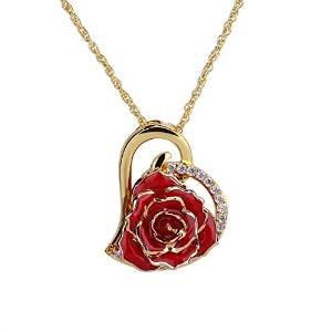24K Gold Necklace, ZJchao Plated Rhinestone Heart Shaped Rose Pendant Necklace for Women Christmas/Valentine e's Day/Mother's Day and Special Gifts for Her (Red1)