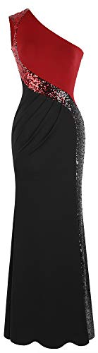 Angel-fashions Damen One Shoulder Prom Kleid Spleißen Small Prom Fashion