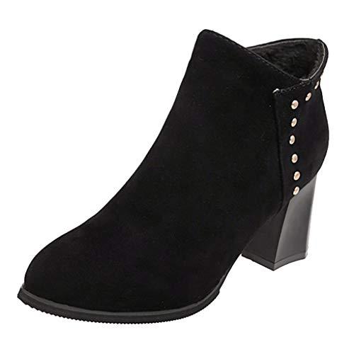 feiXIANG Damen Retro Stiefel Pointed Toe Schuhe Freizeit Frauen Winter kurzer Ankle Boots(Schwarz,35)
