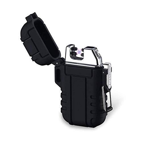 Plasma-Feuerzeug, Teepao Dual Arc Lighter, USB wiederaufladbar, flammenloses Feuerzeug, winddicht, elektrisches Taschenfeuerzeug mit Umhängeband für Smoker Kerze Pfeife Grill Camping, schwarz