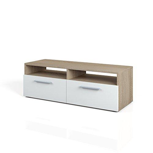 TV Lowboard 95 cm Eiche Sonoma - Fernsehtisch Sideboard Fernsehregal Weiß Braun Board Schrank Regal Rack