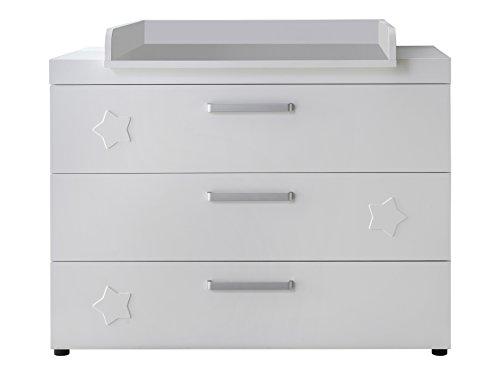 Trendteam Highboard Wohnzimmerschrank, Hochglanz weiß/grau, 134 x 137 cm