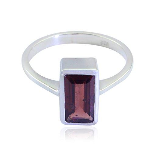 La mejor compra gemas genuinas baguette facetas granate anillos - plata maciza genuino anillo joyería