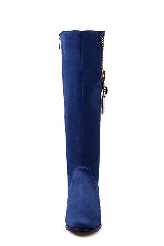 VogueZone009 Damen Hoch-Spitze Reißverschluss Mittler Absatz Stiefel mit Beschlagene Strass Blau