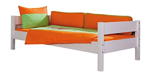 Relita EB3051117-B90 Einzelbett Nik, Maße 208 x 62,5 x 100 cm, Liegefläche 90 x 200 cm, Buche massiv weiß lackiert