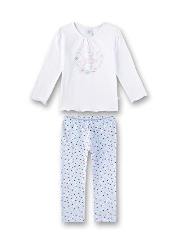 Sanetta Mädchen Pyjama Zweiteiliger Schlafanzug, Weiß (White 10), (Herstellergröße: 116)
