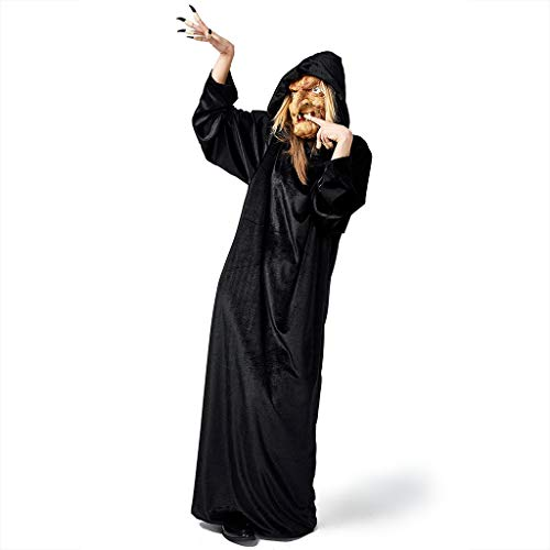 Kostüm Gestreifte Lila Hexe - JXQ-N Damen Vintage Hexenkostüm Lange Kapuze Robe Vampir Zombie Hexe Umhang Kostüm Halloween Cosplay Karneval Fasching Unisex